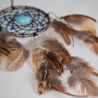 Car Accessory, Small Dream catcher Turquoise stone, Tribal decor, Mini dreamcatcher