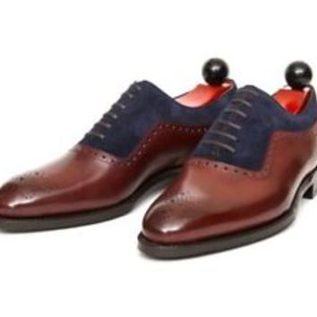 Men's Oxford Shoes, Burgundy Leather And Suede Shoes, Dress Shoes, Designer Shoe