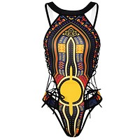 African Designer Print One-piece swimsuit