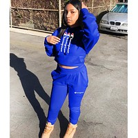 Champion Fashion New Letter Print Hooded Sports Leisure Long Sleeve Top And Pants Two Piece Suit Blue