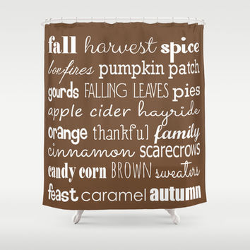 Autumn Celebration Brown Shower Curtain by Tiffany Dawn Smith