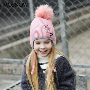 MOSNOW Hat Girl Boy Cute Rabbit Embroidery Fur Pom Poms Ear Brand New Fashion 2017 Knitted Winter Hat Skullies Beanies #MZ863