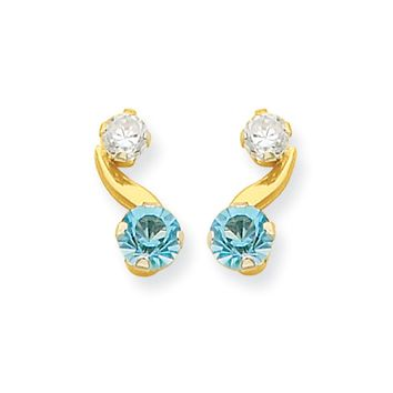 Kids Synthetic Aquamarine and CZ 14k Yellow Gold Drop Earrings