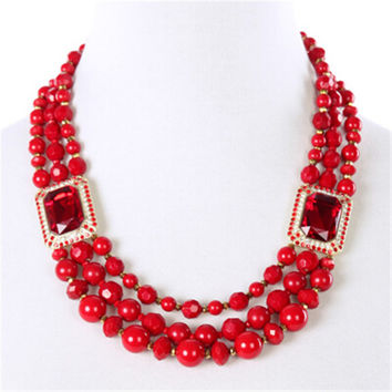 Brand Choker Multilayer Beads Red Crystal Statement Necklace Luxury Big Necklaces