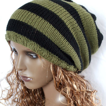 Knited slouchy beanie hat dreads oversized slouch hat knit hat khaki  black