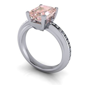 Emerald Cut Morganite Solitaire with Diamond Channel Set Engagement Ring 2.40 CTW