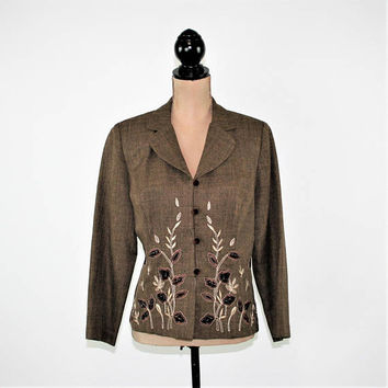 90s Brown Blazer Womens Velvet Leaf Embroidered Fall Jacket Large Brown Jacket Size 12 Jacket Dressbarn Vintage Clothing Womens Clothing