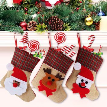 OurWarm 4Pcs/Lot Christmas Stocking Santa Claus Christmas Stocking Sock Xmas Tree Ornaments Burlap Gift Holder New Year Gifts