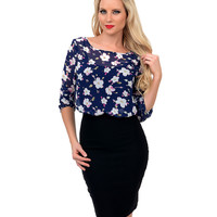 Blue Floral Big Bow Sheer Three-Quarter Sleeve Blouse
