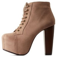 Taupe Lace-Up Platform Chunky Heel Booties by Charlotte Russe