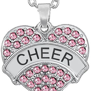 "Silver Tone Crystal Heart Shaped ""CHEER"" Cheerleader Pendant Necklace for Girls, Teens, Women"