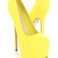Yellow Faux Suede Almond Shaped Closed Toe Platform Pump Heels