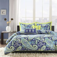 Full / Queen Size 5-Piece Paisley Comforter Set in Blue & Yellow Colors