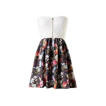Lace Floral Sweetheart Dress - Kely Clothing