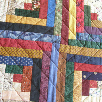 Americana Quilted Table Runner - Rustic Traditional Log Cabin