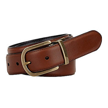 Roundtree & Yorke Edge Emboss Reversible Leather Belt - Brown