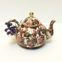 Vintage Chintz Tea Pot, Unmarked Baum Brothers, Roses, Burgundy, Pink, Gold Rims,