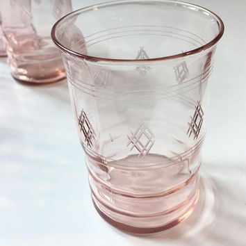 Pink Depression Glass Tumblers, Set of 5 Etched Pink Juice Glasses, Vintage Drinking Glasses
