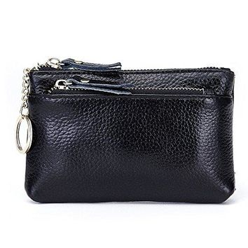 Aladin Leather Coin Purse with Key Chain  Triple Zipper Card Holder Wallet