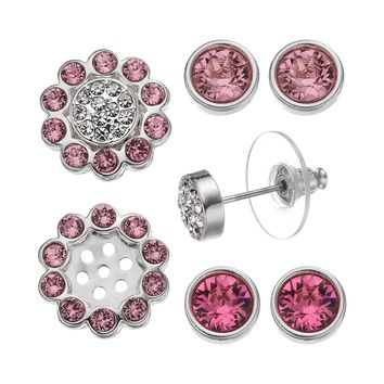 Crystal Colors Crystal Silver Tone Interchangeable Flower Jacket & Stud Earring Set - Made with Swarovski Elements (Pink)