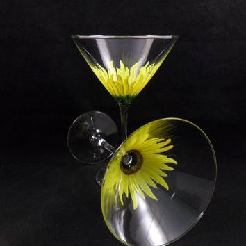 Martini Glasses Sunflower Hand Painted Yellow Set of 2