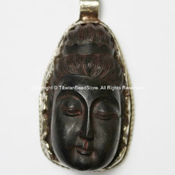 OOAK LARGE Carved Wood Black Buddha Head Tibetan Pendant with Repouss Carved Bird & Floral Details -WM2564