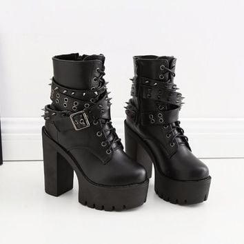 Women Ankle Boots Punk Gothic Rivets Stud Strap Biker Bootie Platform Ultra Very High Heel Thick Shoes Plush Snow Boots
