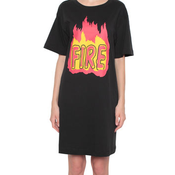 Love Moschino Cotton jersey dress with Fire print