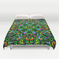 Green Mandala Pattern Duvet Cover by Hippy Gift Shop