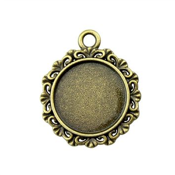 10pcs 18mm Inner Size Antique Bronze Grass Cameo Cabochon Base Setting Charms Pendant