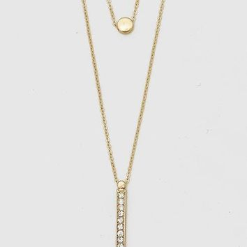 Strength Engraved Layered Pave Necklace