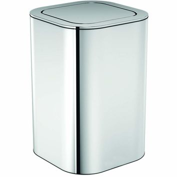 Neli Square Polished Stainless Steel Wastebasket Trash Can W/ Swing Lid Bin