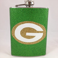 Green Bay Packers Glitter Flask