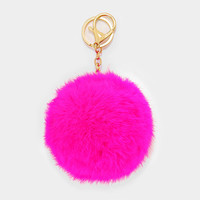 Large Rabbit Fur Pom Pom Keychain, Key Ring Bag Pendant Accessory - Hot Pink