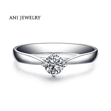 ANI 18K White Gold (AU750) Wedding Ring 0.3 CT Certified I/SI Natural Solitaire Round Cut Diamond Jewelry for Women Engagement