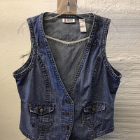 Jean Denim vest Vintage 1990s Cotton Blue Bill Blass Women's size L