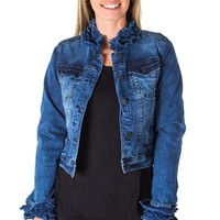 Ruffled Edge Cropped Jean Jacket