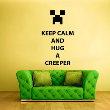 Wall Vinyl Sticker Decals Decor Art Words Sign Quote Keep Calm Minecraft Hug Creeper (z2589)