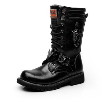 Army Boots Men Chain Military Combat Mens Skull Metal Buckle Lace Up Male Motorcycle Punk Boots