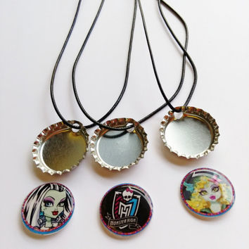 Party Pack monster high Magnetic Bottle Cap Necklaces, bottlecap Jewelry, personalized magnetic bottlecap necklace, character necklace