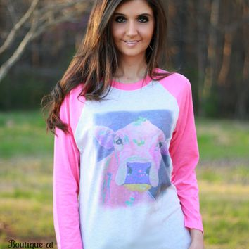 Luckybird Clothing Pink Sleeve Raglan Shirt with Bright Cow Art