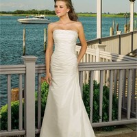 Romantic A-line strapless beaded satin Ivory 2012 Beach Wedding Dresses WDB038