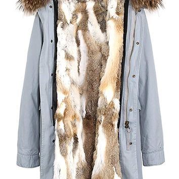S.ROMZA Women Real Rabbit Fur Parka Upscale Long Hooded Coat Detachable Jacket Real Fur Liner