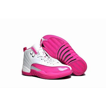 Air Jordan 12 Gs Pink White Aj 12 Women Basketball Shoes | Best Deal Online