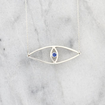 Sterling Silver Evil Eye Necklace /  Evil Eye Pendant / Evil Eye Jewelry / Protection Jewelry / Minimalist Jewelry / Layered Nazar Necklace