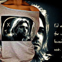 Nirvana Kurt Cobain Off The Shoulder Sweatshirt