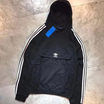 Adidas Fashion Casual Long Sleeve Stripe Hoodie Pullover Sweater For Women Men-1