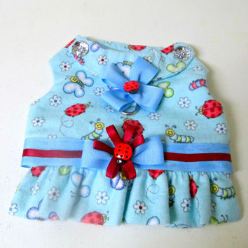 Flannel Small Dogs Harness Vest - Pet Clothing Baby Blue, Red, White & Navy Bug Print Custom to Fit Yorkie Size