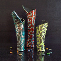Set flower vases Ceramic Raku - artistic - wall vase - centerpieces decoration