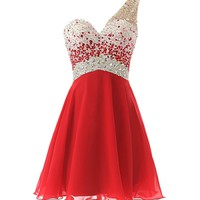 Dresstells® Short Homecoming Dress Beadings One Shoulder Prom Evening Dress Red Size 2